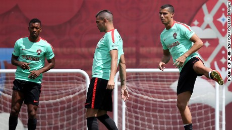 Portugal national team defender Pepe (C) and forward Cristiano Ronaldo (R)  take part in a training session in Kazan on June 15, 2017, as part of the team's preparation for the Confederations Cup.     / AFP PHOTO / Roman Kruchinin        (Photo credit should read ROMAN KRUCHININ/AFP/Getty Images)
