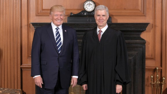 The Supreme Court held a special sitting on June 15, 2017, for the formal investiture ceremony of Associate Justice Neil M. Gorsuch.  President Donald J. Trump and First Lady Melania Trump attended as guests of the Court.  President Donald J. Trump and Associate Justice Neil M. Gorsuch at a courtesy visit in the Justices