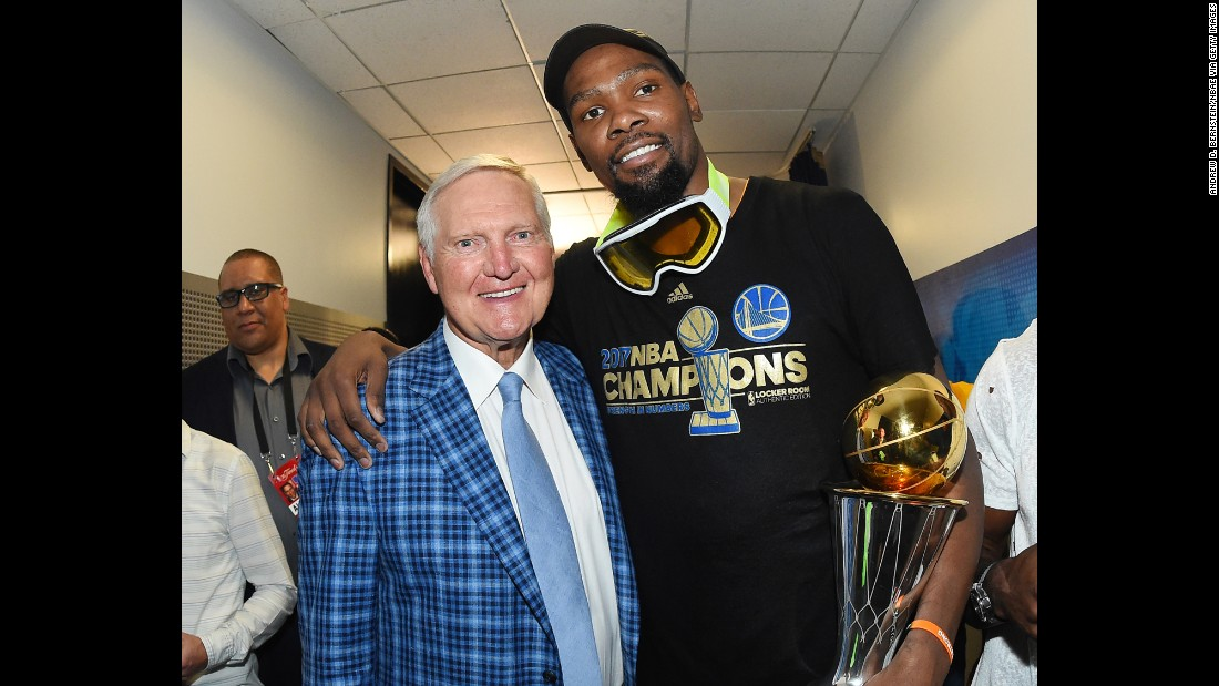 "NBA legend Jerry West (left) -- seen posing with Kevin Durant of the Golden State Warriors -- says he has battled depression his entire life. The nine-time NBA champion as a player and executive says basketball provided solace from his abusive father growing up. ""I was looking for an escape,"" he told USA Today. ""I was just looking for something that I would be appreciated for."""