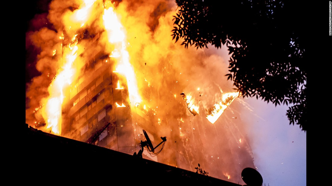 "Burning debris falls from the Grenfell Tower, a high-rise apartment building in London, during <a href=""http://www.cnn.com/2017/06/14/europe/grenfell-tower-fire-community-anger/index.html"" target=""_blank"">a deadly fire</a> on Wednesday, June 14. British Prime Minister Theresa May <a href=""http://www.cnn.com/2017/06/15/europe/london-fire-grenfell-tower/index.html"" target=""_blank"">has announced a full public inquiry</a> into the disaster."