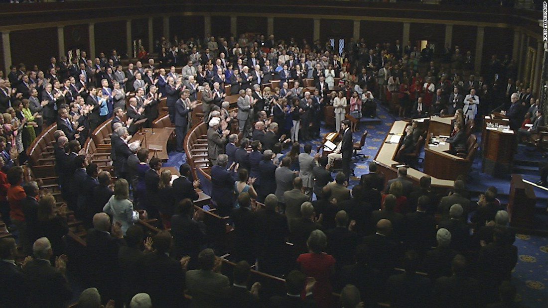 "Members of the US House of Representatives rise in applause Wednesday, June 14, as House Speaker Paul Ryan <a href=""http://www.cnn.com/2017/06/14/politics/paul-ryan-steve-scalise/index.html"" target=""_blank"">gives a speech</a> about Wednesday's shooting at a congressional baseball practice. ""An attack on one of us is an attack on all of us,"" Ryan said in his speech."
