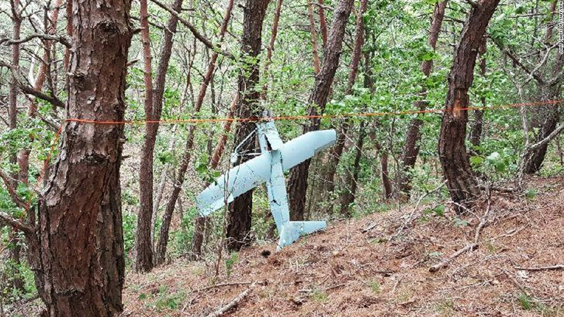 "A handout photo provided by the South Korean Joint Chiefs of Staff shows <a href=""http://www.cnn.com/2017/06/13/asia/thaad-drone-north-korea/index.html"" target=""_blank"">a suspected North Korean drone</a> hanging on a tree in South Korea on Friday, June 9. South Korea said the drone was spying on a US-built missile system that is being deployed in the country."
