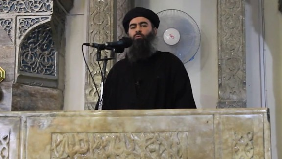 (FILES) This image grab taken from a propaganda video released on July 5, 2014 by al-Furqan Media allegedly shows the leader of the Islamic State (IS) jihadist group, Abu Bakr al-Baghdadi, aka Caliph Ibrahim, adressing Muslim worshippers at a mosque in the militant-held northern Iraqi city of Mosul.  The Russian army on June 16, 2017 said it hit Islamic State leaders in an airstrike in Syria last month and was seeking to verify whether IS chief Abu Bakr al-Baghdadi had been killed. In a statement, the army said Sukhoi warplanes carried out a 10-minute night-time strike on May 28 at a location near Raqa, where IS leaders had gathered to plan a pullout by militants from the group