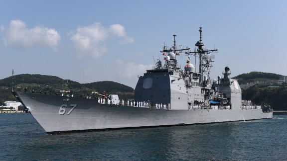 150504-N-AD372-023 BUSAN, Republic of Korea (May 4, 2015) The Ticonderoga-class guided-missile cruiser USS Shiloh (CG 67) pulls into Busan for a scheduled port visit. Shiloh is conducting routine patrols and maritime security operations in the U.S. 7th Fleet area of responsibility to promote stability and develop key partnerships with allies across the Indo-Asia-Pacific region. (U.S. Navy photo by Mass Communication Specialist 1st Class Abraham Essenmacher/Released)