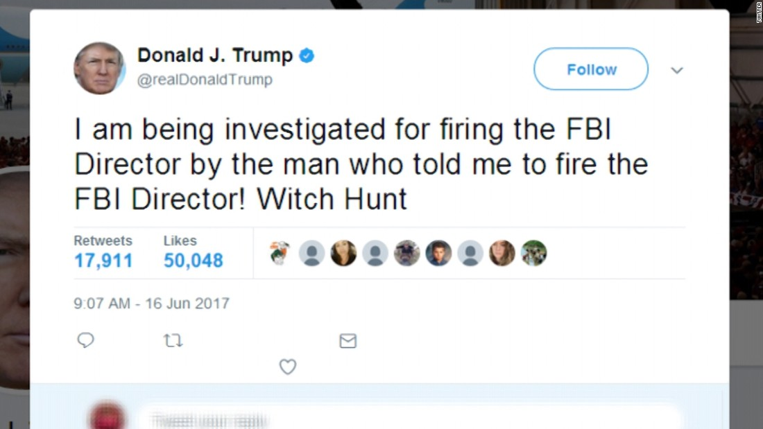 Image result for photos of trump's WITCH HUNT tweets