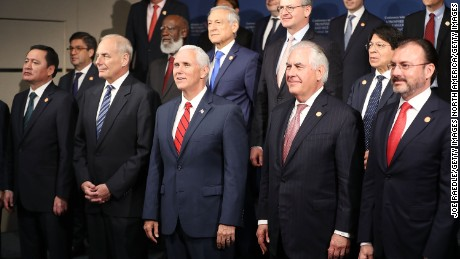 MIAMI, FL - JUNE 15:  Vice President Mike Pence (C) stand with Miguel çngel Osorio Chong the Mexican Secretary of the Interior, U.S. Secretary of Homeland Security John F. Kelly, Secretary of State Rex Tillerson and Luis Videgaray Caso, Mexican Secretary of Foreign Affairs (L-R front row) and other leaders for a photo opportunity at the   Conference on Prosperity and Security in Central America at the Florida International University on June 15, 2017 in Miami, Florida. The conferance brought together government and business leaders from the United States, Mexico, Central America, and other countries to address the economic, security, and governance challenges and opportunities in El Salvador, Guatemala, and Honduras.  (Photo by Joe Raedle/Getty Images)