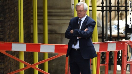 LONDON, ENGLAND - JUNE 13:  Brexit Secretary David Davis awaits the arrival of DUP leader Arlene Foster at 10 Downing Street on June 13, 2017 in London, England. Discussions between the DUP and the Conservative party are continuing in the wake of the UK general election as Prime Minister Theresa May looks to form a government with the help of the Democratic Unionist party's ten Westminster seats.  (Photo by Leon Neal/Getty Images)