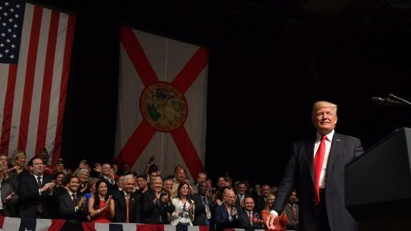 President Donald Trump speaks in Miami on June 16, 2017.