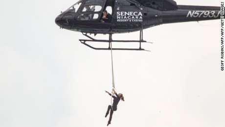 Aerialist Erendira Wallenda spent eight minutes on Thursday, June 15, 2017, hanging by her teeth over Niagara Falls.