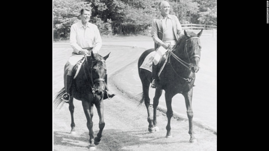 President Ronald Reagan and Mexican President Jose Lopez Portillo ride horses at Camp David in June 1981.