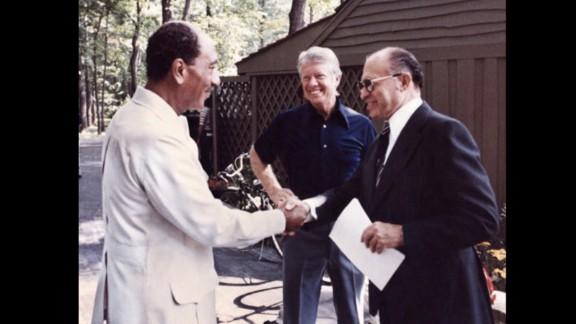 President Jimmy Carter, Egyptian President Anwar Sadat and Israeli Prime Minister Menachem Begin are at the Camp David Peace Talks in September 1978.