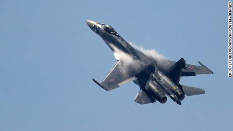 A Russian Sukhoi Su-35 flies over Le Bourget airport on June 17, 2013 at the International Paris Air show.