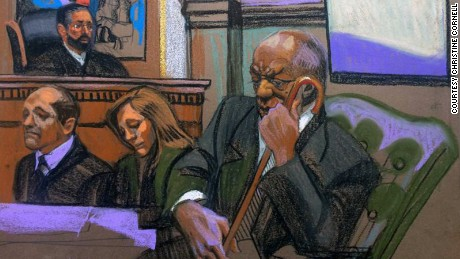 In this sketch , Cosby sits in court in his aggravated indecent assault trial.