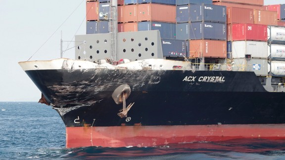 The damage to Philippine-registered container ship ACX Crystal is seen in the waters off Izu Peninsula, southwest of Tokyo on June 17.