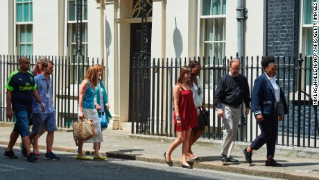 Residents affected by the Grenfell Tower fire arrive Saturday at 10 Downing Street to meet Theresa May.
