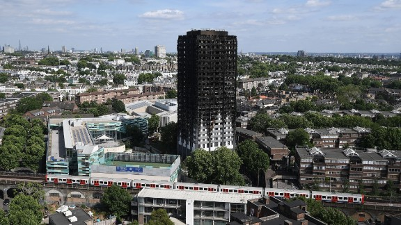 The burnt-out shell of Grenfell Tower on Friday.