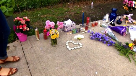 Tributes are placed at a makeshift memorial for Charleena Lyles.