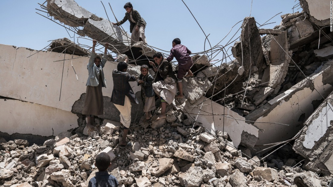 Young students play in the ruins of the Aal Okab school in Saada City, which was destroyed in June 2015. At least two million Yemeni children are missing school, and more than 1,600 schools out of action because of conflict-related damage, according to UNICEF.