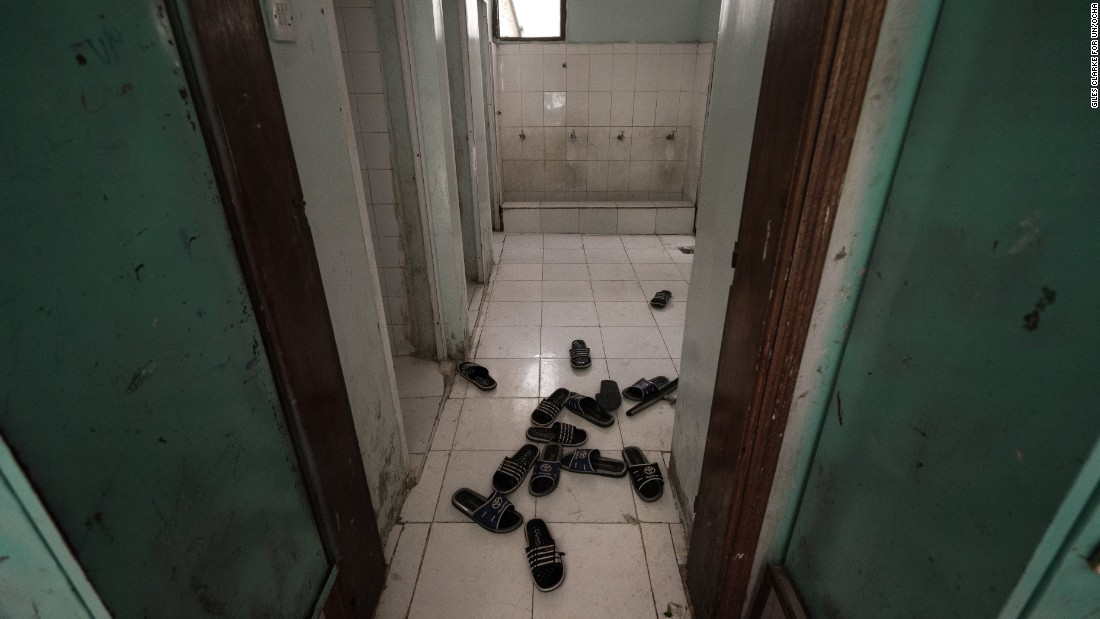The slippers of young orphans scattered on the floor of the Al Hubaishi Orphanage in Ibb. The facility houses more than 200 boys, most of whose fathers were killed while serving in the army.
