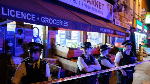 Police guard a street in Finsbury Park after the attack on Monday.