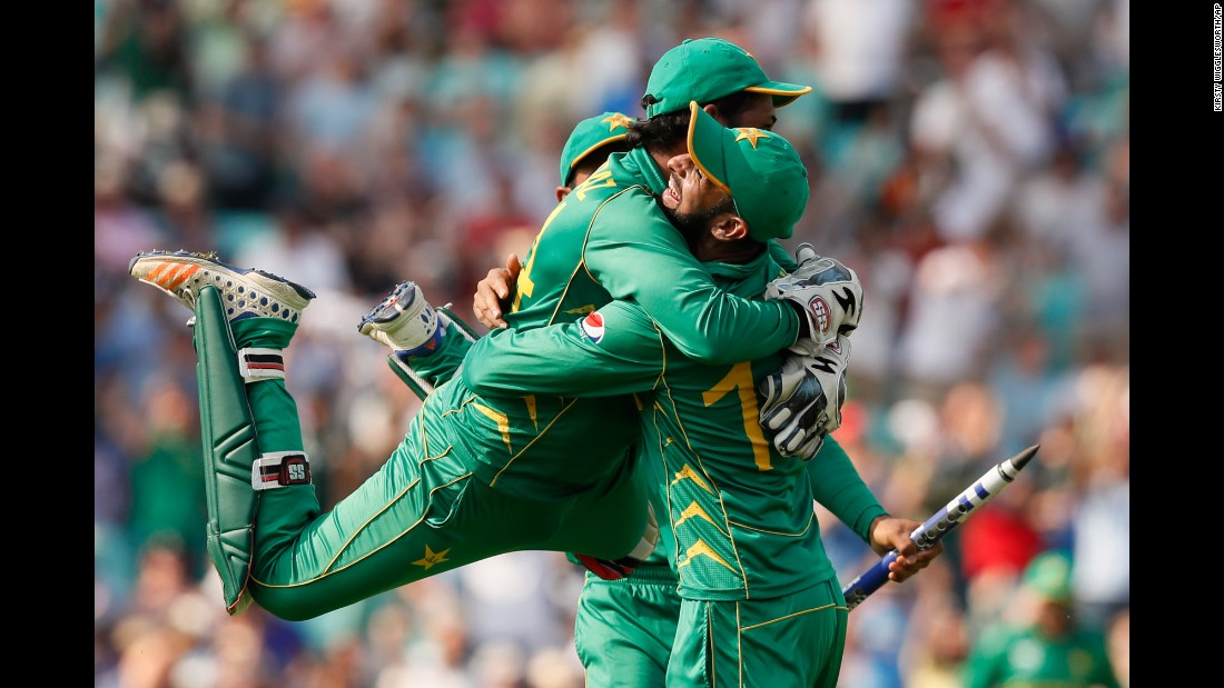 "Pakistan players celebrate after stunning India in <a href=""http://www.cnn.com/2017/06/18/sport/pakistan-india-champions-trophy-cricket/index.html"" target=""_blank"">the Champions Trophy cricket final</a> on Sunday, June 18. India was the defending champion and a heavy favorite."