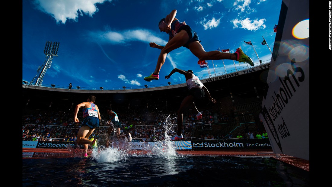 Athletes run the 3,000-meter steeplechase during the Diamond League meet in Stockholm, Sweden, on Sunday, June 18.