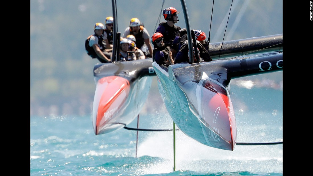 "Emirates Team New Zealand, right, leads Oracle Team USA during an America's Cup race in Bermuda on Sunday, June 18. The Kiwis <a href=""http://www.cnn.com/2017/06/18/sport/americas-cup-team-new-zealand-lead-oracle/index.html"" target=""_blank"">won the first four races</a> in the battle for the Auld Mug."