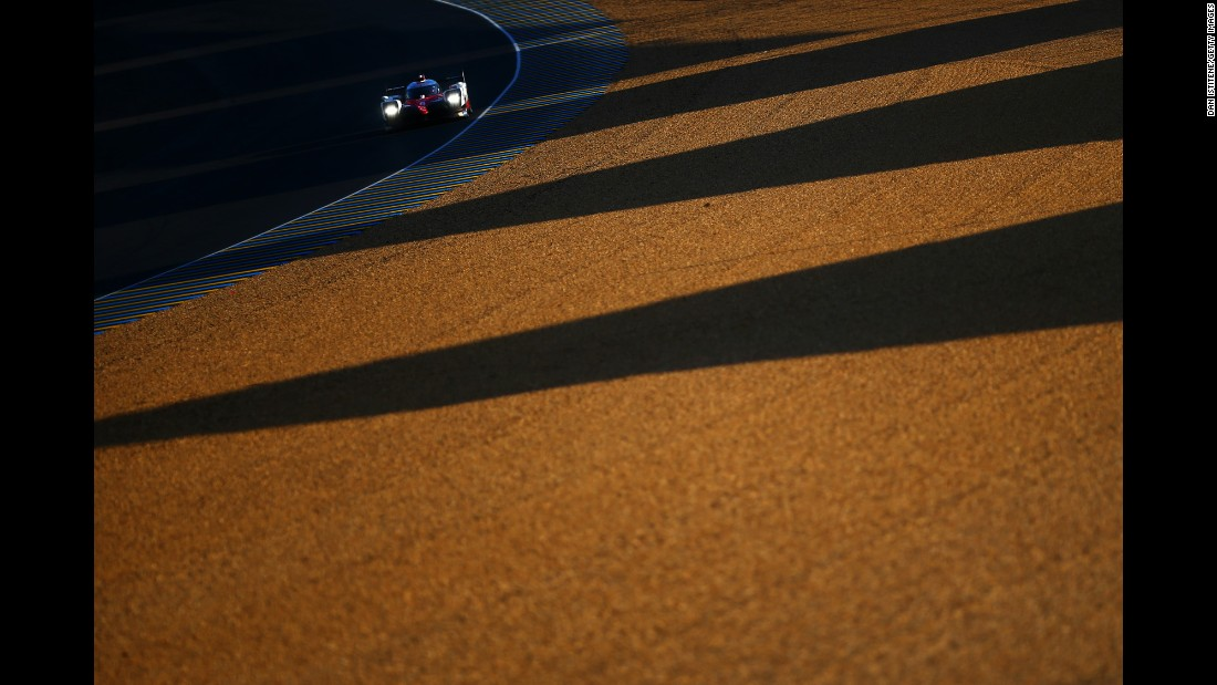 A car practices Wednesday, June 14, ahead of the 24 Hours of Le Mans in France.
