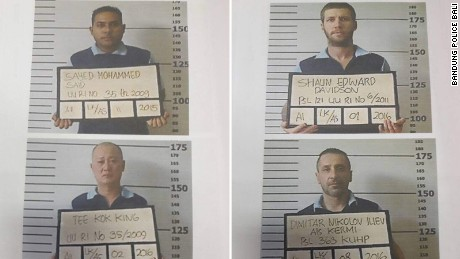 Mugshots of the four men who escaped from a prison in Bali, Indonesia on Monday June 19, 2017.