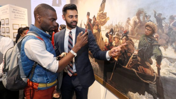 """Activist Deeray McKesson and comedian Hasan Minaj attended the """"Donald J. Trump Presidential Twitter Library"""" opening reception presented by Comedy Central's """"The Daily Show"""" on June 15, 2017 in New York City."""