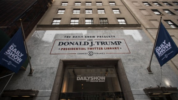 """""""The Daily Show""""-produced """"Donald J. Trump Presidential Twitter Library"""" in New York City showcased President Trump's tweets through the years. The pop-up exhibit was only open for a few days."""