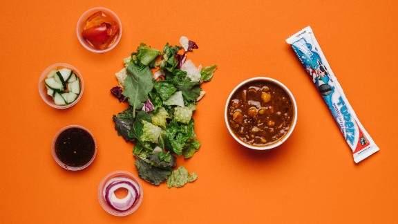 Panera Bread's all-natural turkey chili with kids' classic salad and squeezable yogurt delivers protein, fiber, calcium and vegetables in general.