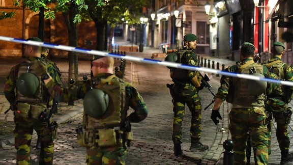 Belgian soldiers patrol Tuesday night near Brussels Central Station after the partial explosion.