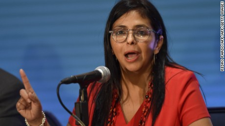 Venezuelan Foreign Minister Delcy Rodriguez speaks during a press conference in the framework of the 47th General Assembly of the Organization of American States (OAS) in Cancun, Mexico, on June 20, 2017. Ministers from the OAS failed Monday to agree on a resolution to address the crisis in Venezuela, as the death toll from weeks of clashes at anti-government protests rose to 74. / AFP PHOTO / Pedro PARDO        (Photo credit should read PEDRO PARDO/AFP/Getty Images)