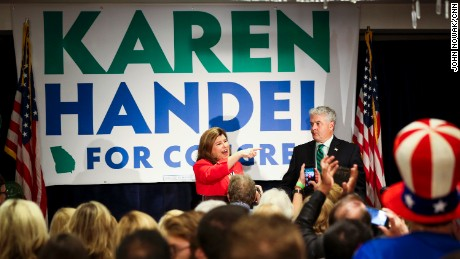 Karen Handel speaks to guests at her election party in Atlanta, Georgia on June 20th, 2017.