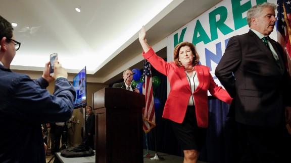 Karen Handel celebrates at her election party.