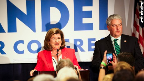 Karen Handel celebrates her victory at her election party June 20th, 2017.