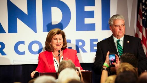 Karen Handel celebrates her victory at her election party June 20th, 2017.
