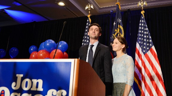 Jon Ossoff speaks to his guests at his election party on June 20th, 2017.