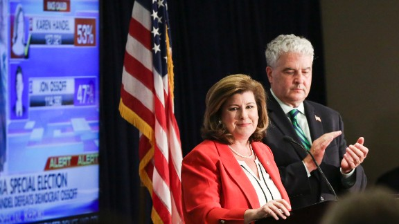 Karen Handel gives her victory speech at her election party in Atlanta, Georgia on June 20th, 2017.