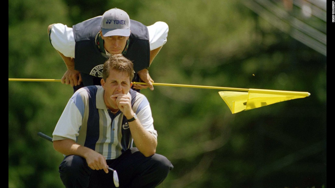 "Veteran US golfer Phil Mickelson and his long-time caddie Jim ""Bones"" Mackay announced their split after 25 years together. The pair -- pictured here at the 1995 US Open -- won five majors together."