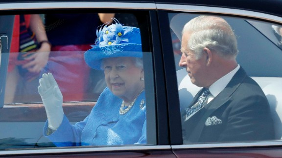 Queen Elizabeth II leaves Buckingham Palace with Prince Charles on Wednesday.
