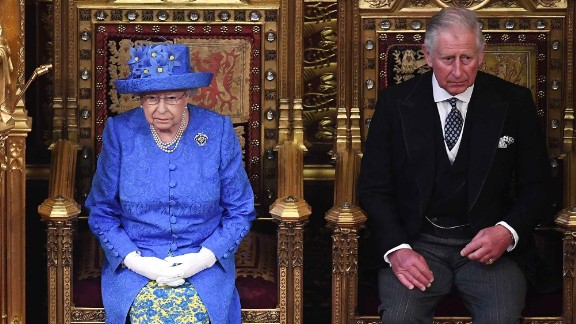 Queen Elizabeth II and Prince Charles at the House of Lords for the Queen