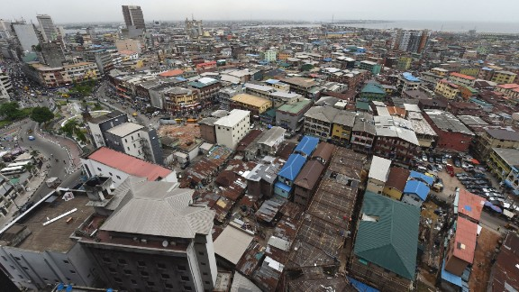 A view of multi-story buildings in Lagos, Nigeria's commercial capital.