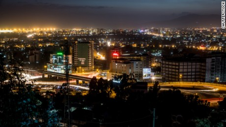 Aerial view of the city of Addis Ababa at night; Shutterstock ID 124598869
