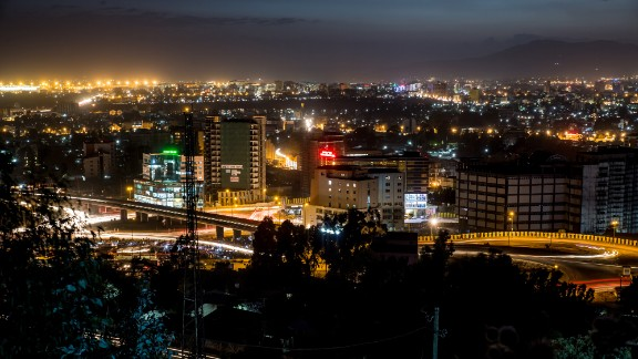 Aerial view of the city of Addis Ababa at night.