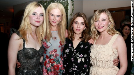 "LOS ANGELES, CA - JUNE 12:  (L-R) Actors Elle Fanning, Nicole Kidman, director Sofia Coppola and actor Kirsten Dunst attend the after party for the premiere of Focus Features' ""The Beguiled"" at Sunset Tower Hotel on June 12, 2017 in Los Angeles, California.  (Photo by Rich Fury/Getty Images)"