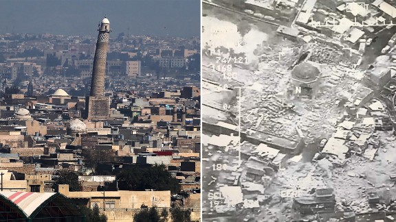 Before-and-after photographs of the destruction. The US and ISIS trade blame for its loss.