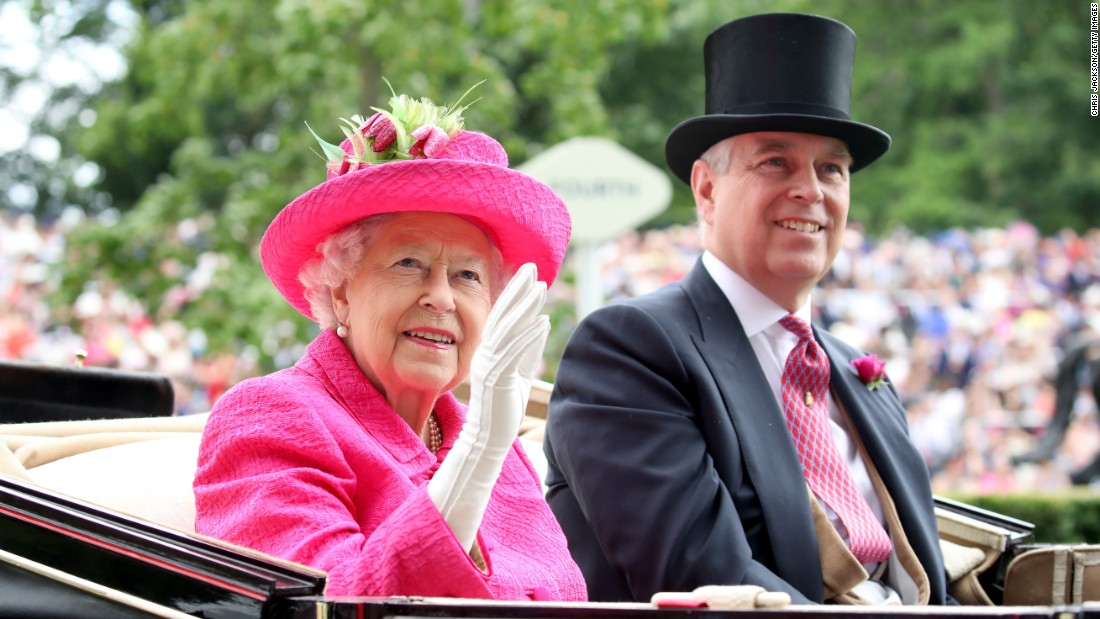 Queen Elizabeth II and her son Prince Andrew, Duke of York, attended the third day of racing. Bookies' have been taking bets each day on the color of Her Majesty's outfits.