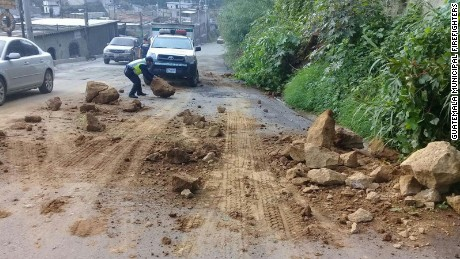 A landslide blocks part of a road Thursday in southern Guatemala after the earthquake.